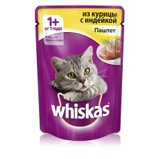 Корм для кошек Whiskas (Вискас) из курицы с индейкой паштет 85гр