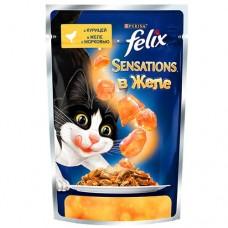 Корм для кошек Felix (Феликс) SENSATIONS в желе с курицей и морковью 85гр