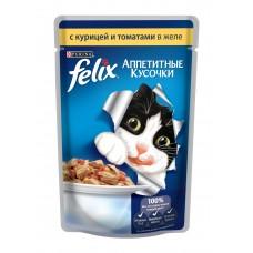 Корм для кошек Felix (Феликс) желе с курицей и томатами 85гр