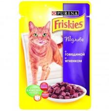 Корм для кошек Friskies (Фрискис) с говядиной и ягнёнком в подливе 100гр