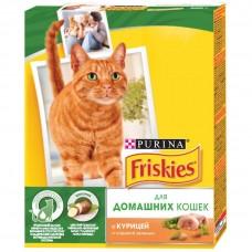 Корм для кошек Friskies (Фрискис) для домашних кошек с курицей и сад. зеленью 300гр