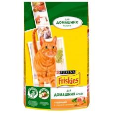 Корм для кошек Friskies (Фрискис) для домашних кошек с курицей и сад. зеленью 1.5кг