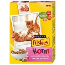 Корм для кошек Friskies (Фрискис) для котят, с курицей молоком и полезными овощами 400гр