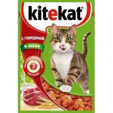 Корм для кошек Kitekat (Китекат) c говядиной в желе 85гр