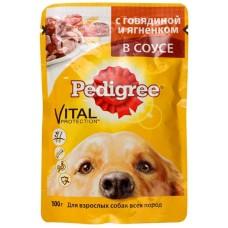 Корм для собак Pedigree (Педигри)  для взрослых собак говядина и ягнёнок в соусе 100гр