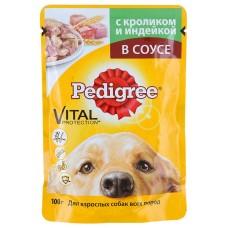 Корм для собак Pedigree (Педигри)  для взрослых собак кролик и индейка в соусе 100гр