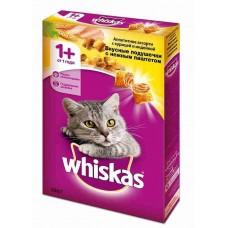 Корм для кошек Whiskas (Вискас) вкусные подушечки с нежным паштетом. Аппетитное ассорти с курицей и индейкой 350гр